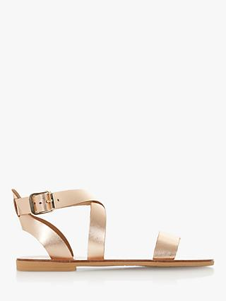Dune Lottiie Cross Strap Sandals, Rose Gold