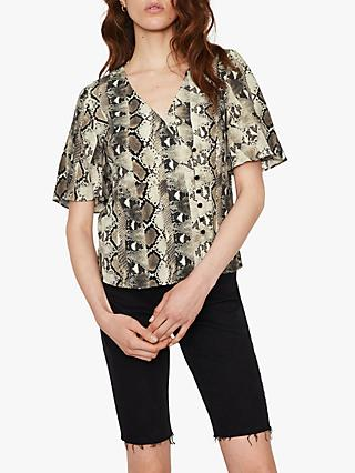 Warehouse Snake Print Side Button Top, Black