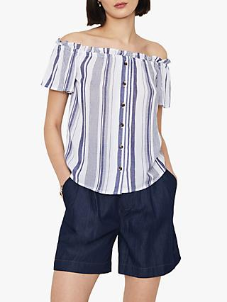 Warehouse Stripe Bardot Top, Blue