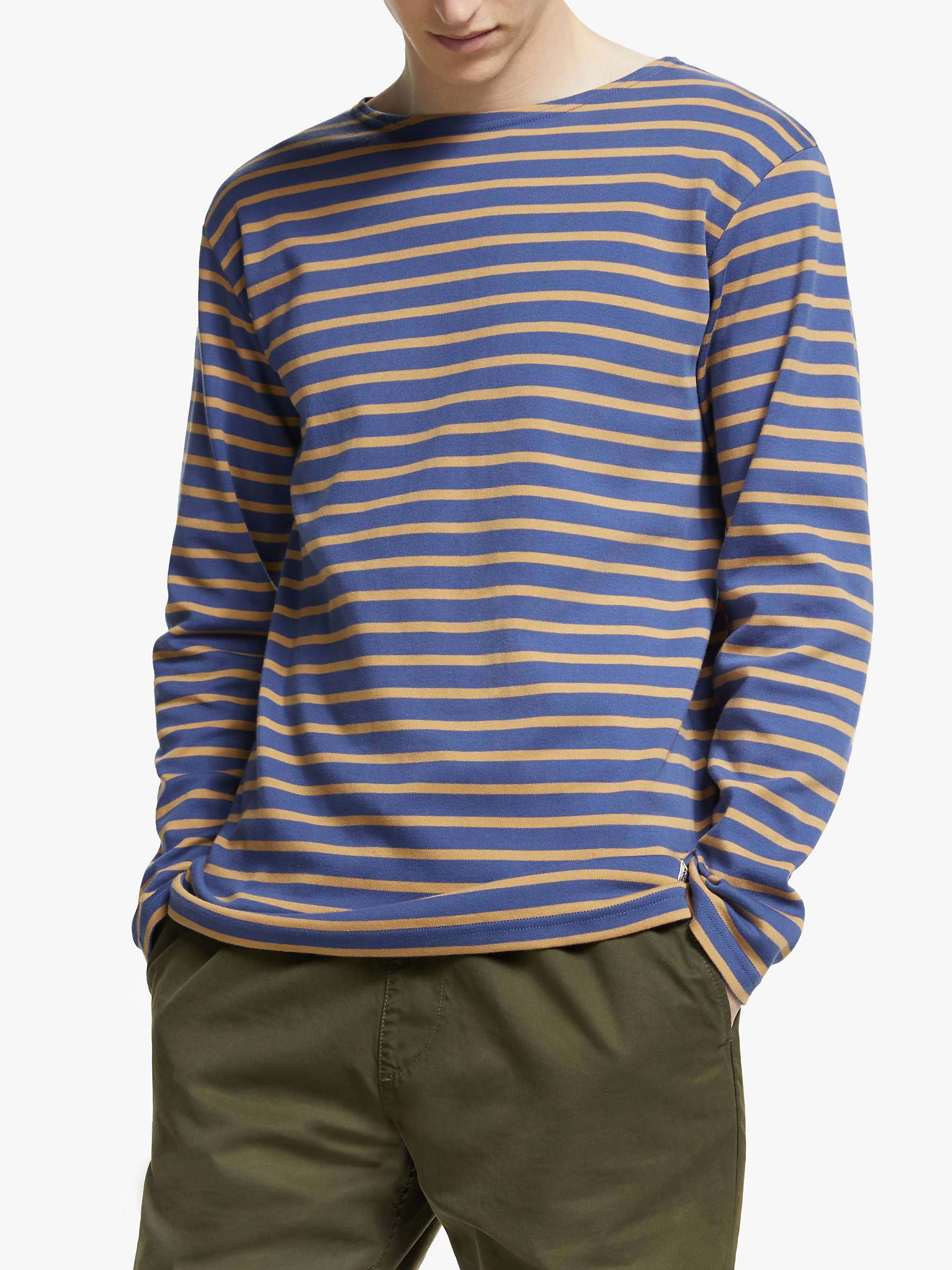 offer discounts great deals price reduced Armor Lux Marinière Houat Héritage Breton Striped Long Sleeve T-Shirt,  Ink/Orange