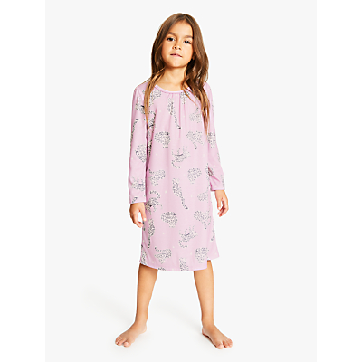 John Lewis & Partners Girls' Snow Leopard Night Dress, Pink