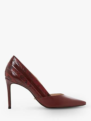 Dune Barrelle Leather Panel Detail Pointed Court Shoes, Red