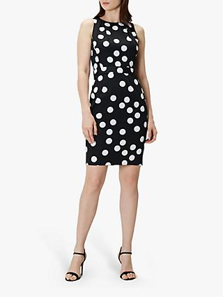 Coast April Spot Cotton Dress, Black/White