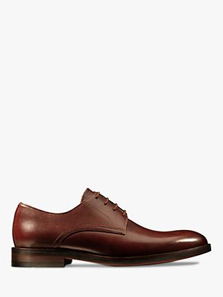 Clarks Oliver Lace Leather Derby Shoes, British Tan