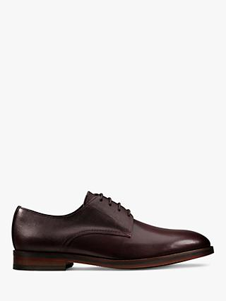 Clarks Oliver Lace Derby Leather Shoes, Burgundy