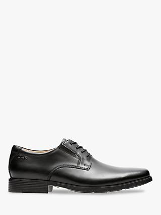 Clarks Tilden Plain Derby Shoes, Black