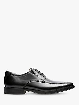 Clarks Tilden Walk Derby Leather Shoes, Black