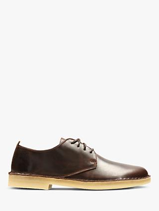 Clarks Originals Desert London Derby Leather Shoes, Chestnut