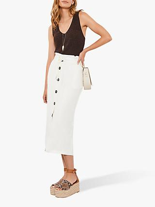 Mint Velvet Button Pencil Skirt, Ivory