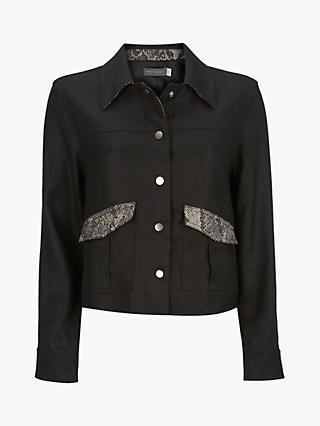 Mint Velvet Snake Print Crop Jacket, Black