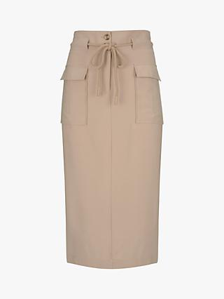 Mint Velvet Fawn Rope Belted Pencil Skirt, Neutral