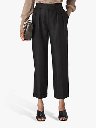 Whistles Lydia Linen Belted Trousers, Black