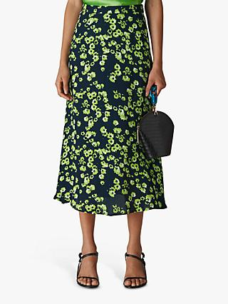 Whistles Digital Daisy Print Skirt, Navy Multi