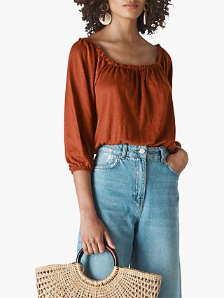 Whistles Linen Square Neck Top
