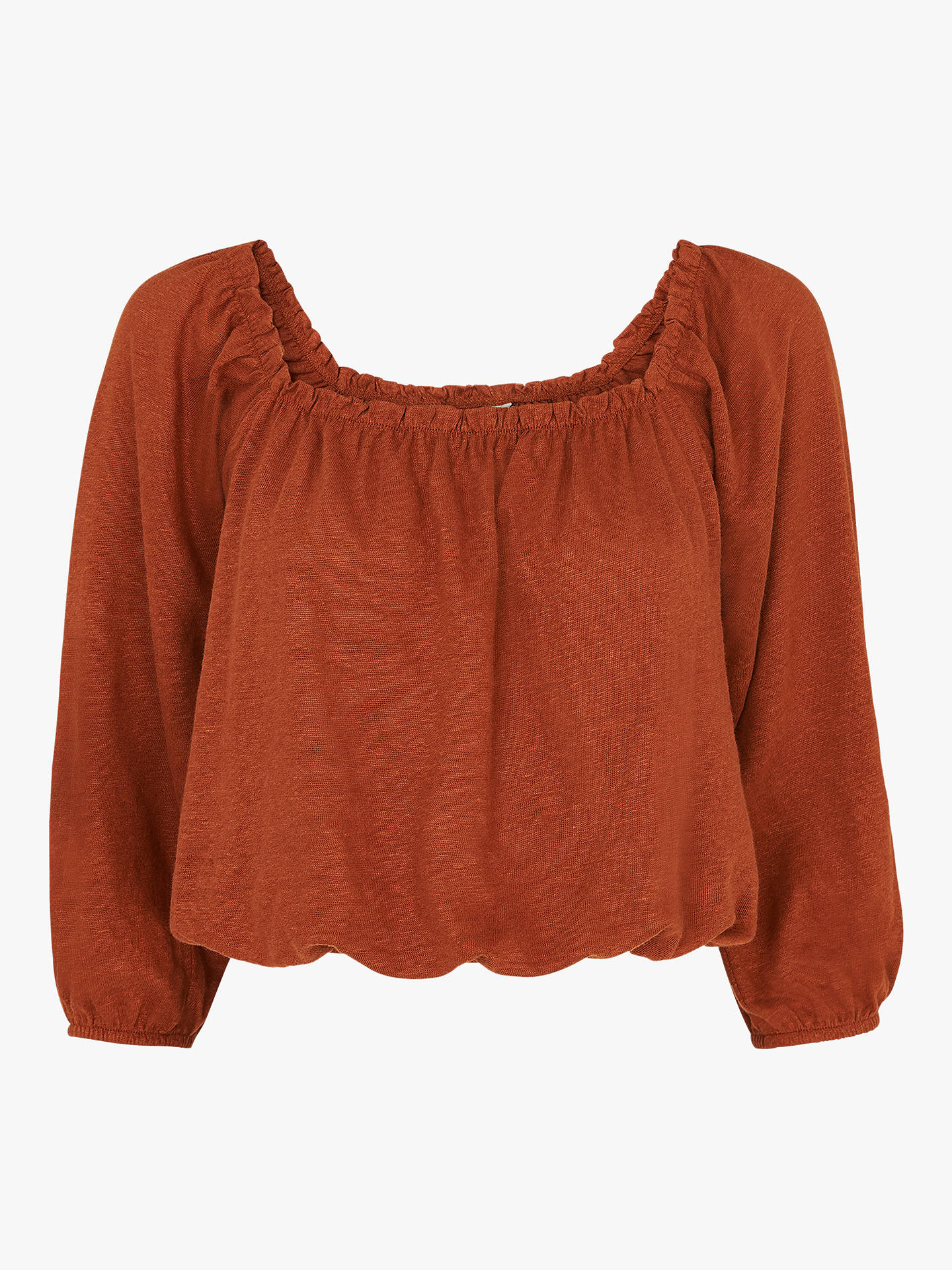 Buy Whistles Linen Square Neck Top, Rust, S Online at johnlewis.com