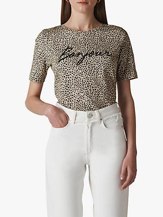 a26be2f858897 Whistles Leopard Print Bonjour Slogan T-Shirt, Brown/Multi