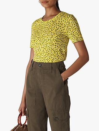 Whistles Clouded Leopard Print Top, Yellow/Multi