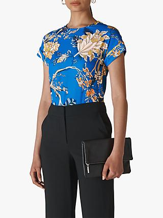 Whistles Exotic Floral Shell Top, Blue/Multi