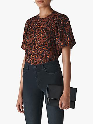 Whistles Brushed Leopard Print Top, Brown/Multi