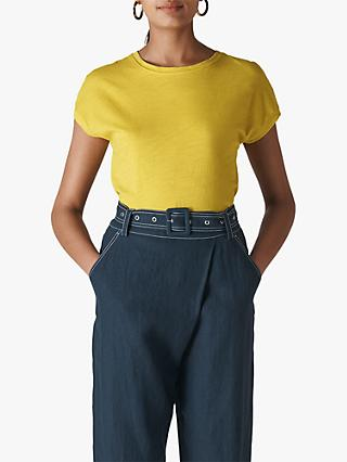 Whistles Minimal Cap Sleeve T-Shirt, Yellow