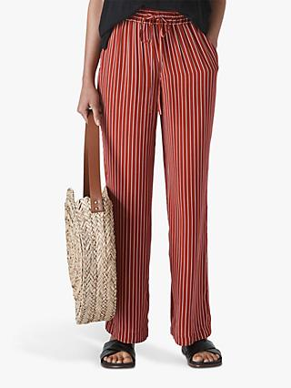 Whistles Wide Leg Stripe Trousers, Rust
