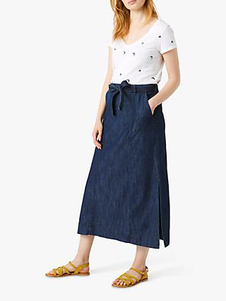 White Stuff Dreaming Ione Cotton Maxi Skirt, Mid Denim