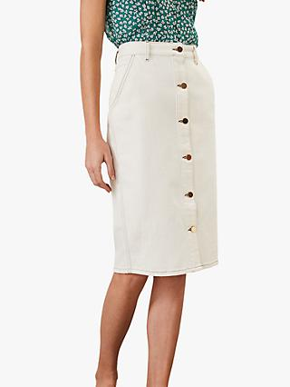 Phase Eight Ellama Denim Skirt, White