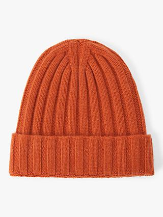 Oscar Jacobson Knit Cashmere Beanie Hat, Orange