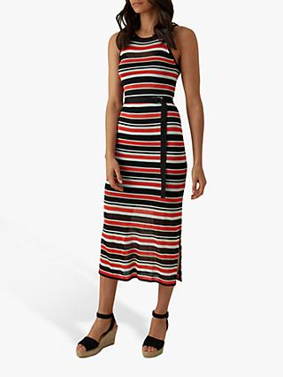 Karen Millen Striped Knitted Midi Dress, Black/Multi