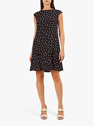 Hobbs Catalina Spot Dress, Navy/White