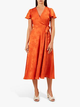 Hobbs Eleanor Wrap Dress, Orange