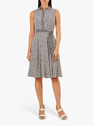 Hobbs Belinda Spot Dress, Ivory/Black