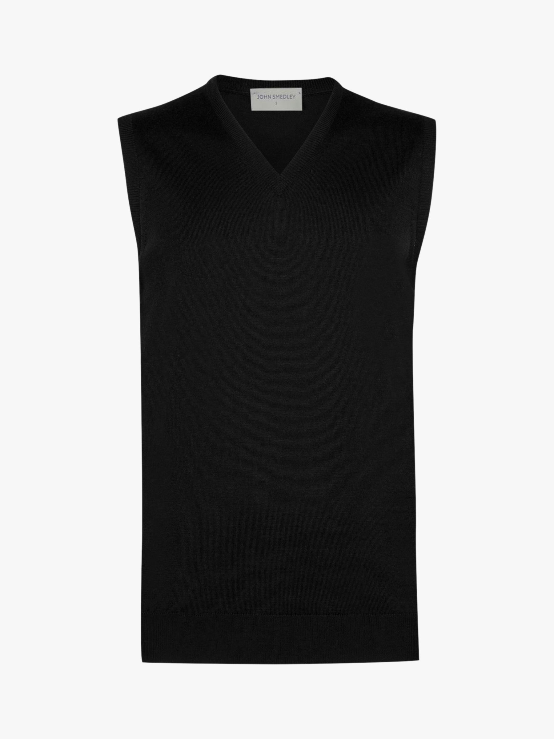 John Smedley John Smedley Hadfield Sleeveless V Neck Pullover, Black