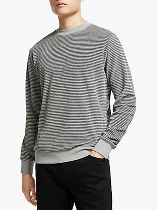 Kin Velour Stripe Sweatshirt, Grey