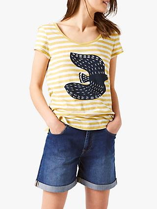 White Stuff Coast To Coast Cotton T-Shirt, Yellow/Multi