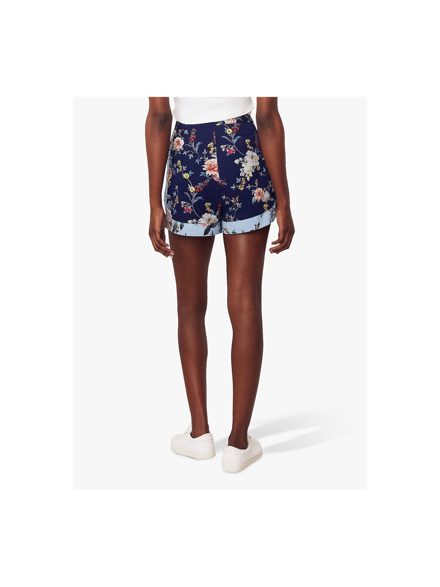 Buy Oasis Botanical Floral Print Shorts, Blue/Multi, 8 Online at johnlewis.com