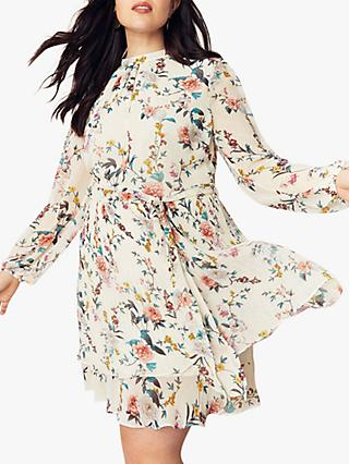 Oasis Curve Tiered Floral Dress, Multi/Natural