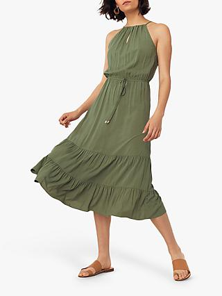Oasis High Neck Tiered Midi Dress, Khaki