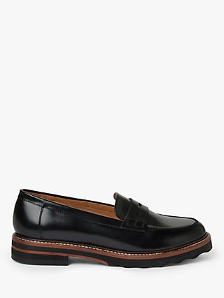 John Lewis & Partners Gabryjel Leather Loafers, Black