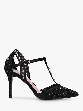 Carvela Kankan Studded Embellished T-Bar Court Shoes, Black