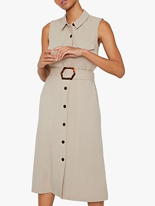 Warehouse Linen Blend Buckle Sleeveless Shirt Dress