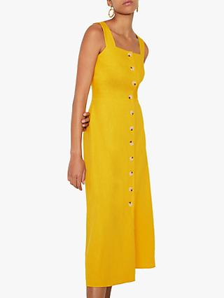 Warehouse Linen Blend Button Square Neck Midi Dress