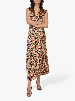 Warehouse Leopard Cowl Back Dress, Animal