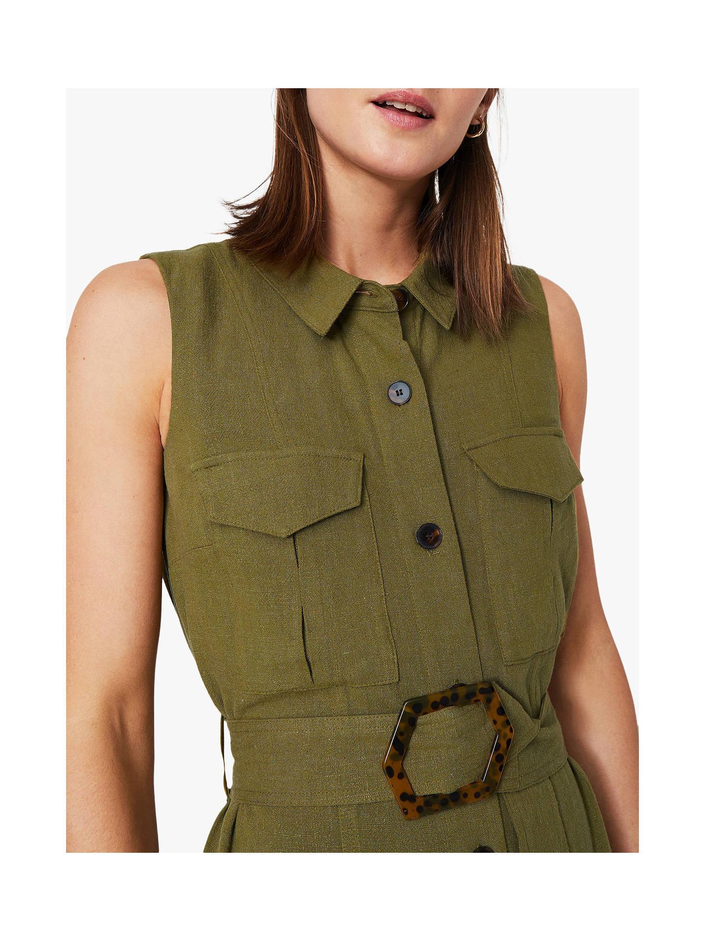 9703e4a9758 Warehouse Linen Blend Buckle Sleeveless Shirt Dress, Khaki