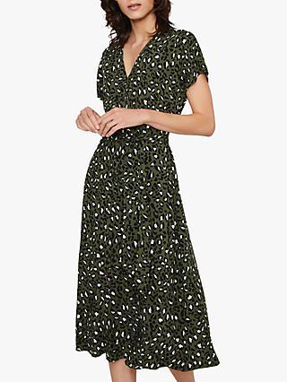 16f8ff4771 Warehouse Leopard Midi Dress, Green