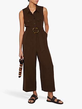 Warehouse Utility Sleeveless Linen Blend Jumpsuit, Brown
