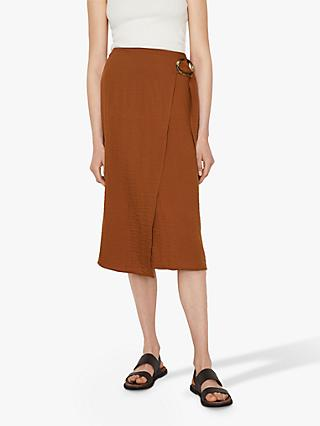 Warehouse Textured Midi Skirt, Rust