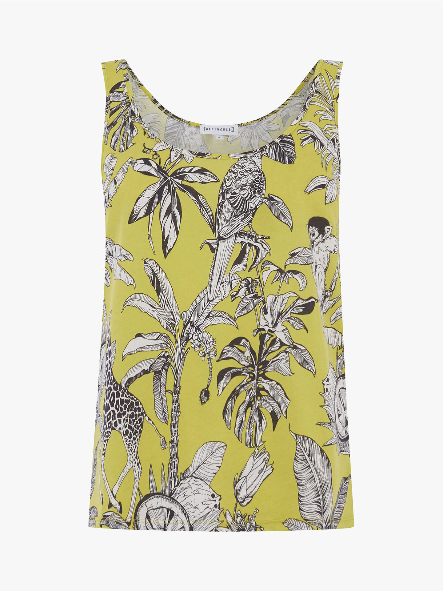 Buy Warehouse Jungle Print Cotton Vest Top, Yellow, 10 Online at johnlewis.com