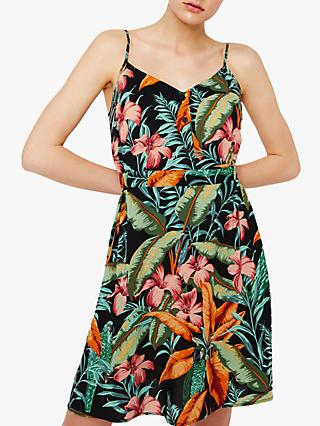 f26072d67f74 Warehouse Tropical Parrot Dress, Black Pattern