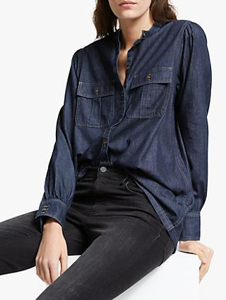 AND/OR Devon Shirred Denim Shirt, Blue